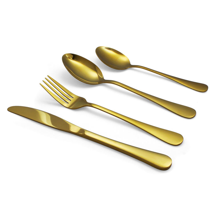 Reflective gold flatware - cutlery - stainless steel - set