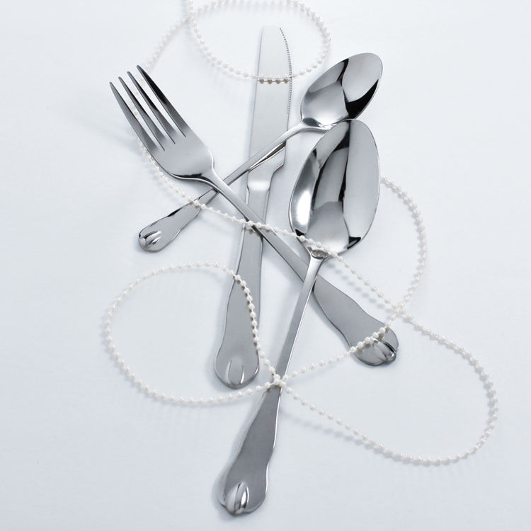 Reflective silver flatware - cutlery - stainless steel - with beads
