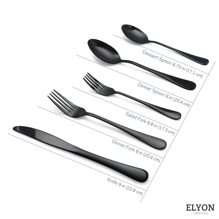 Reflective black flatware - cutlery - stainless steel - size
