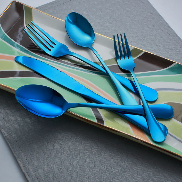 Reflective blue flatware - cutlery - stainless steel - colored tray