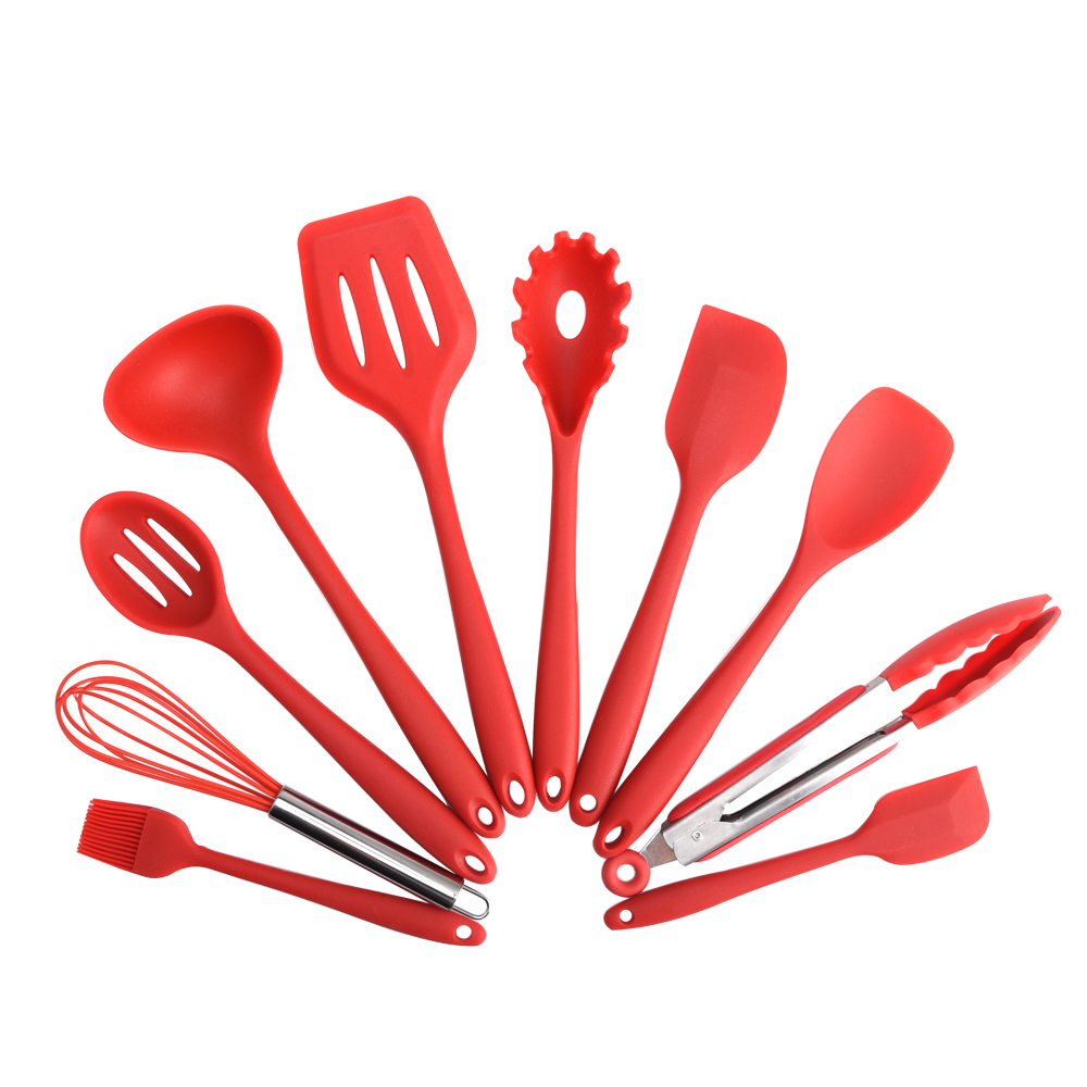 10 piece silicone kitchen cooking utensils set, red. elyon