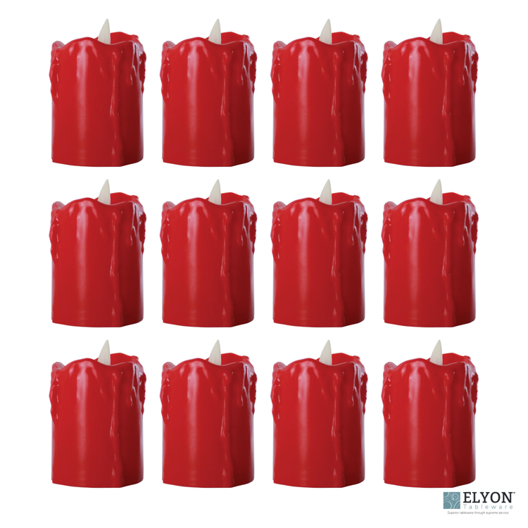 LED Flameless Short Dripping Pillar Flicker Candles, 12 Pack, Red - pack