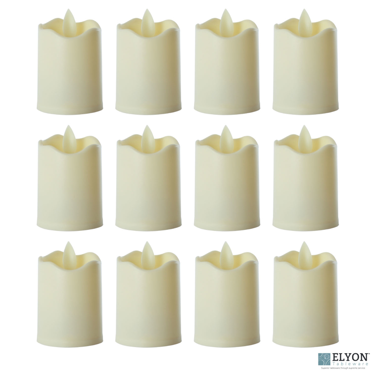 LED Flameless Short Pillar Flicker Candles, 12 Pack, Ivory - pack