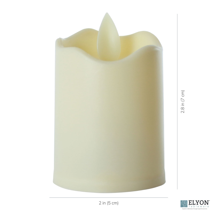 LED Flameless Short Pillar Flicker Candles, 12 Pack, Ivory - size