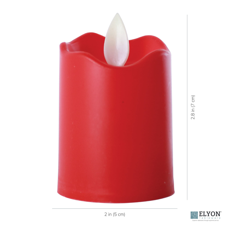 LED Flameless Short Pillar Flicker Candles, 12 Pack, Red - size