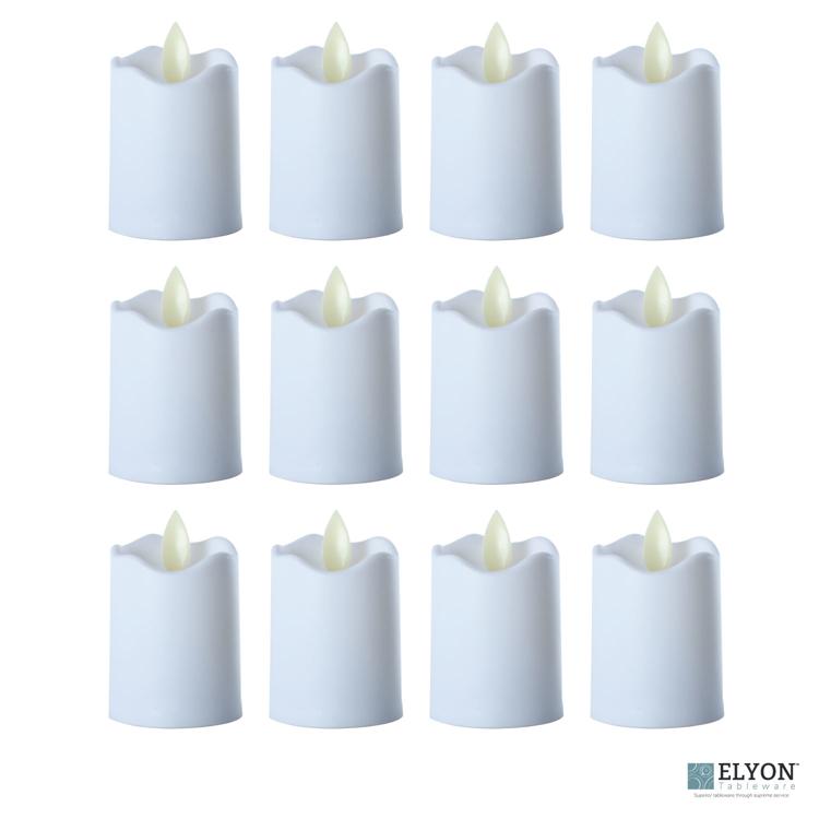 LED Flameless Short Pillar Flicker Candles, 12 Pack, White - pack