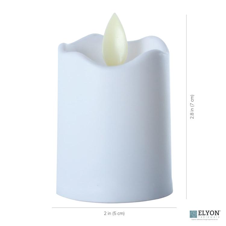 LED Flameless Short Pillar Flicker Candles, 12 Pack, White - size