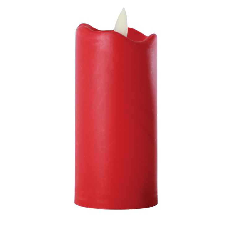 LED Flameless Tall Pillar Flicker Candles, 12 Pack, Red