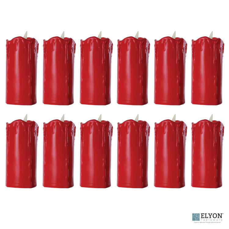 LED Flameless Tall Dripping Pillar Flicker Candles, 12 Pack, Red - pack