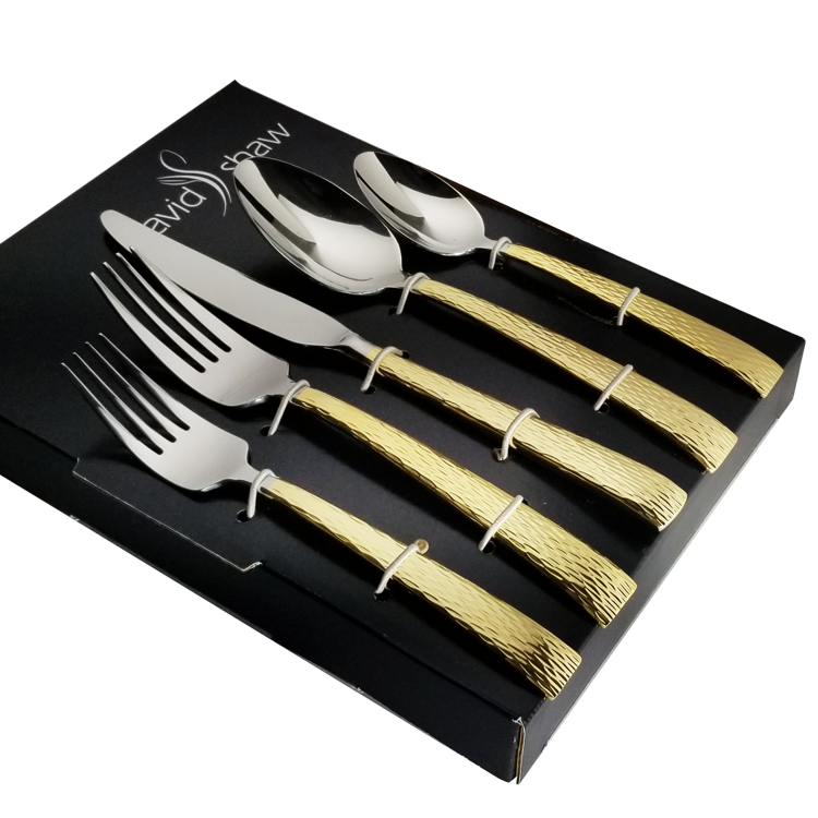 David Shaw 20-Piece Stainless Steel Gold Handle Mali Flatware Set, Service For 4