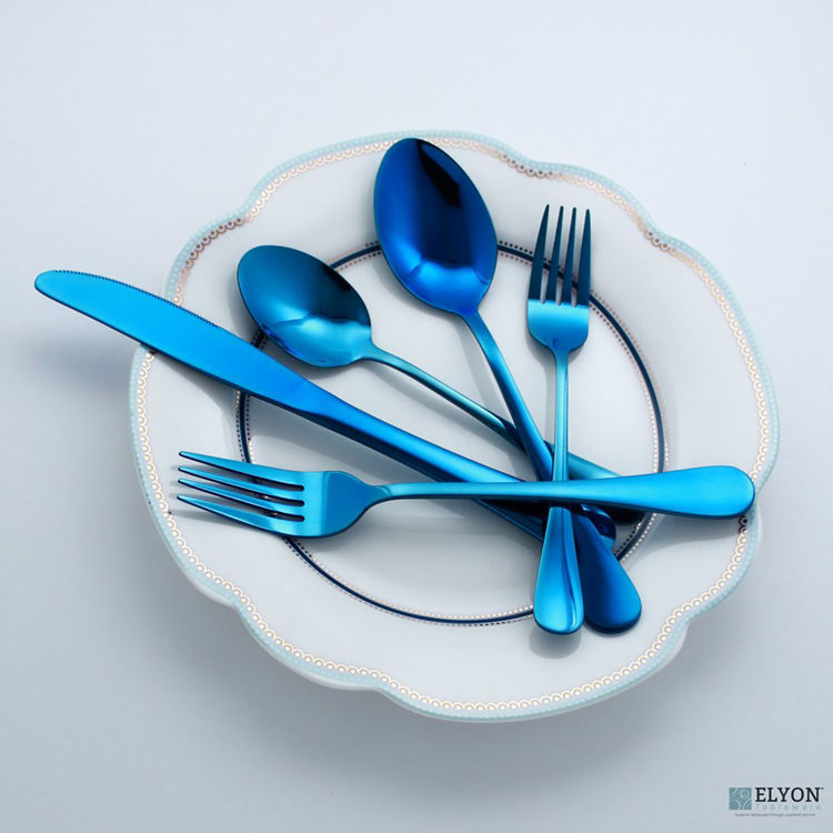 Picture of 20-Piece  Reflective Blue Flatware Set, Stainless Steel, Service For 4