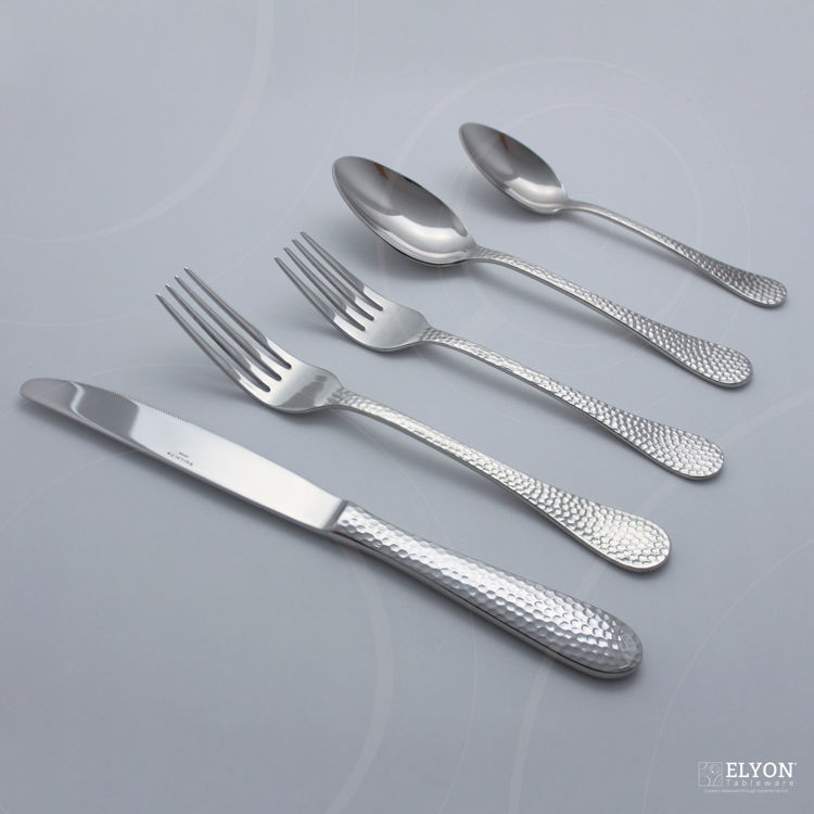 Wallace 65-Piece Stainless Steel Continental Hammered Flatware Set, Service For 12 | Elyon Tableware