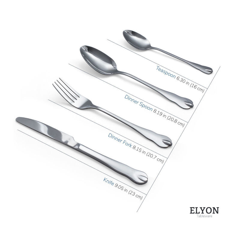 Reflective silver flatware - cutlery - stainless steel - utensil sizes
