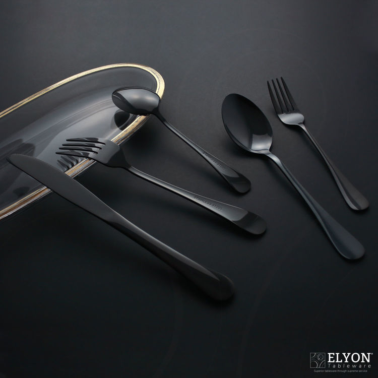 Reflective black flatware - cutlery - stainless steel - black background