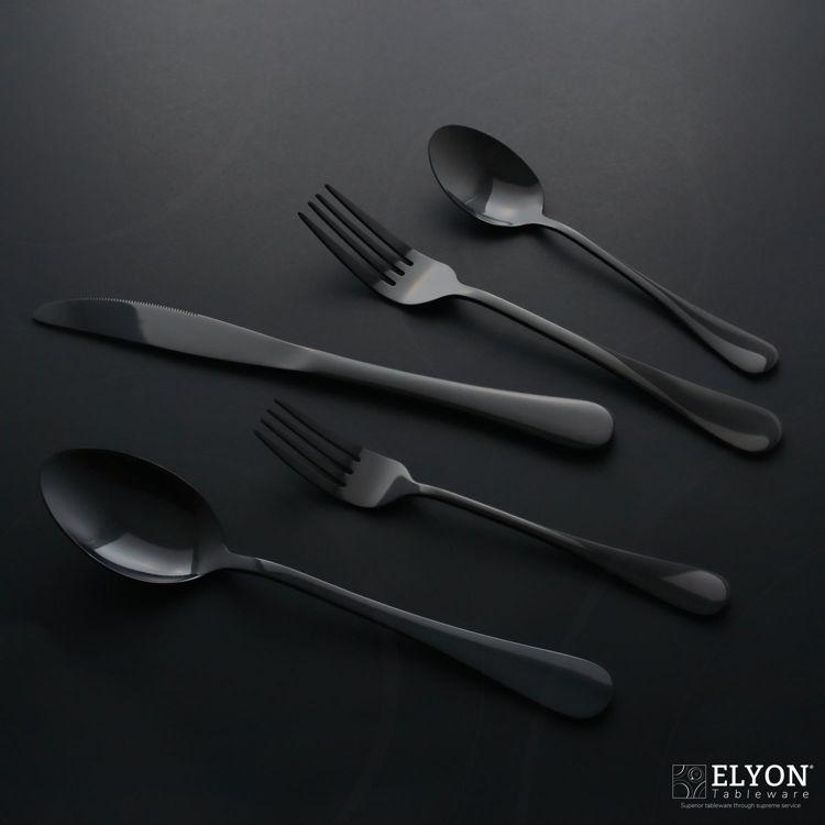 Reflective black flatware - cutlery - stainless steel - black background