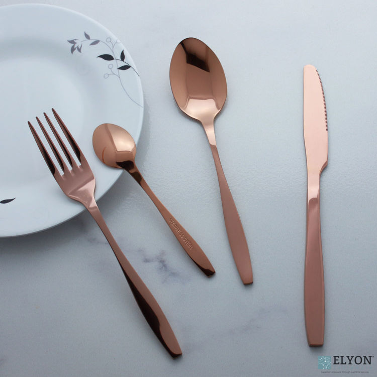 16-Piece Reflective Copper Flatware Set, Service For 4 - Plate