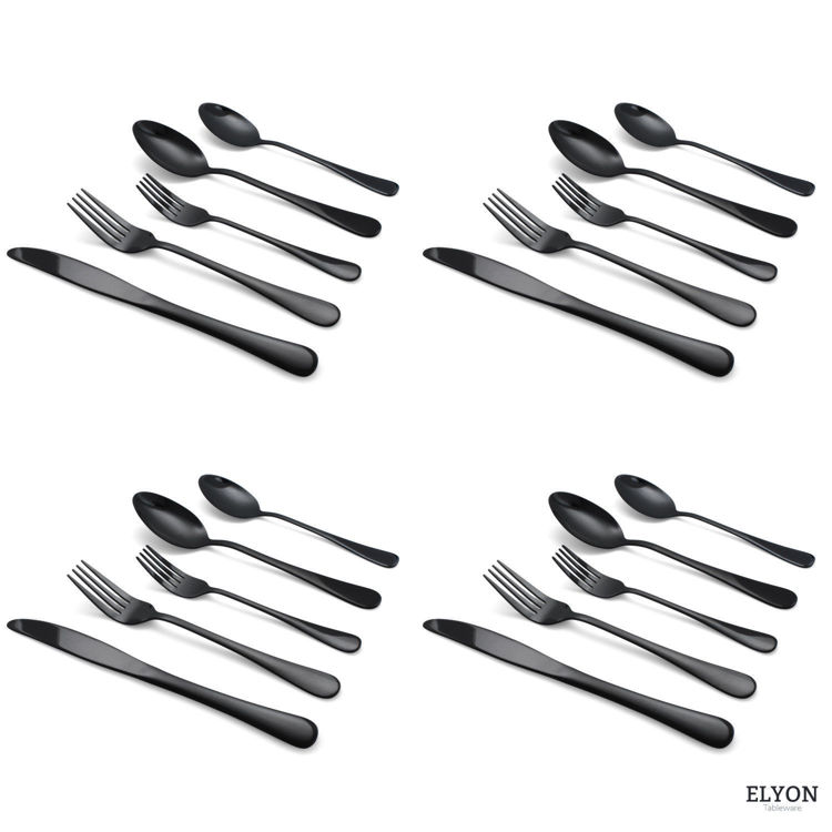 Picture of 20-Piece Reflective Black Flatware Set, Stainless Steel, Service For 4