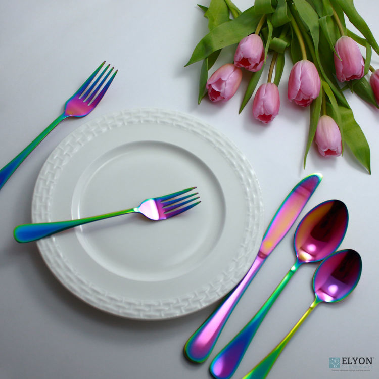 20-Piece Reflective Rainbow Flatware Set, Service For 4