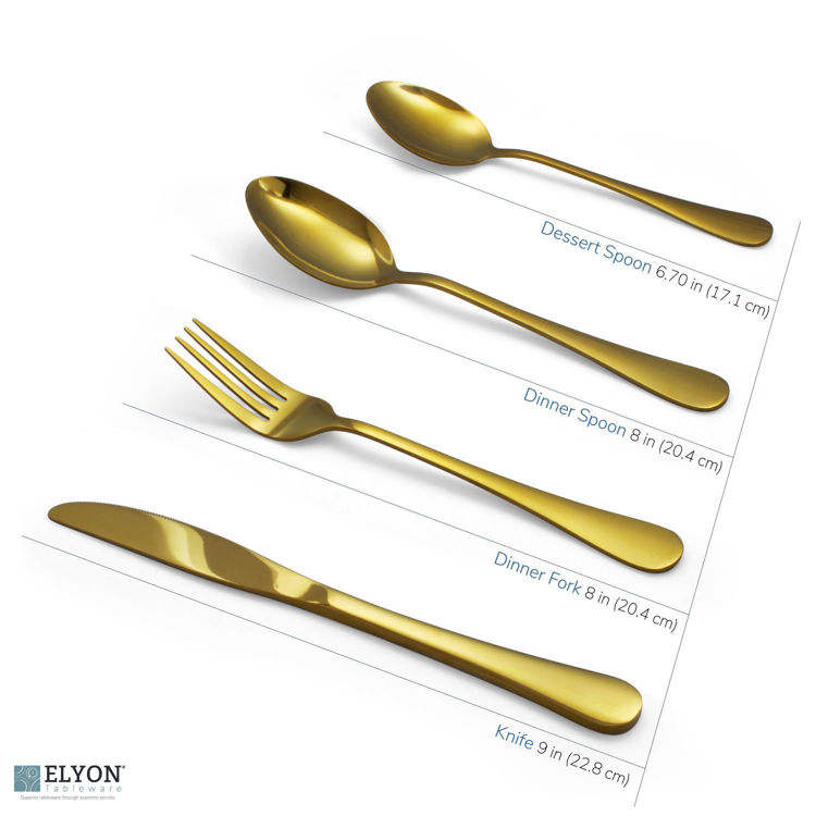 16-Piece Reflective Gold Flatware Set, Stainless Steel, Service For 4