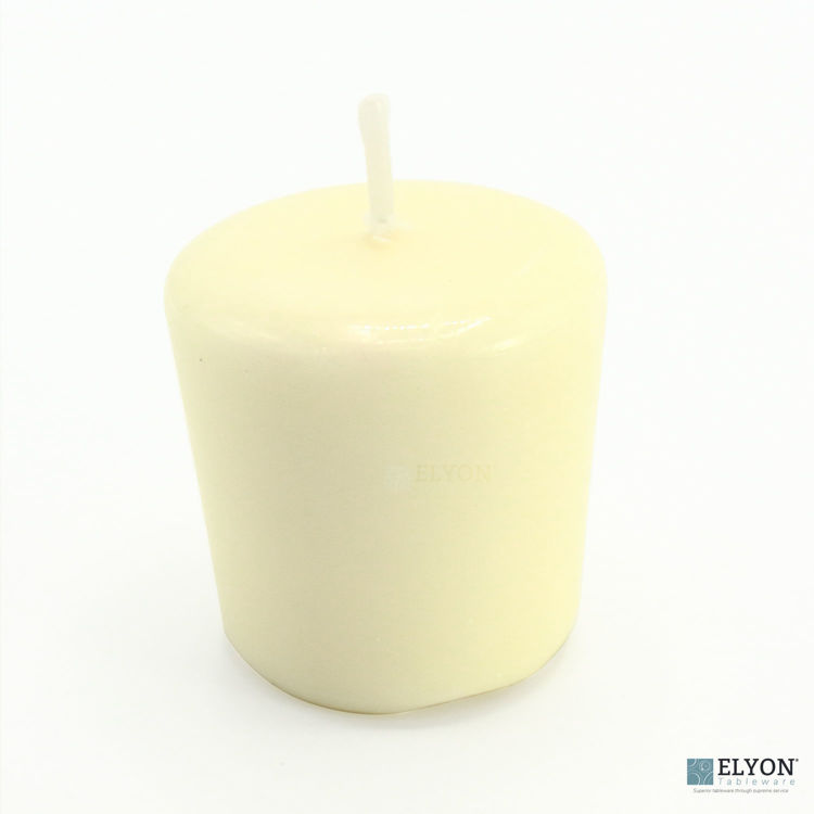 24 Ivory Unscented Wax Votive Candles, 15 Hours Burn Time