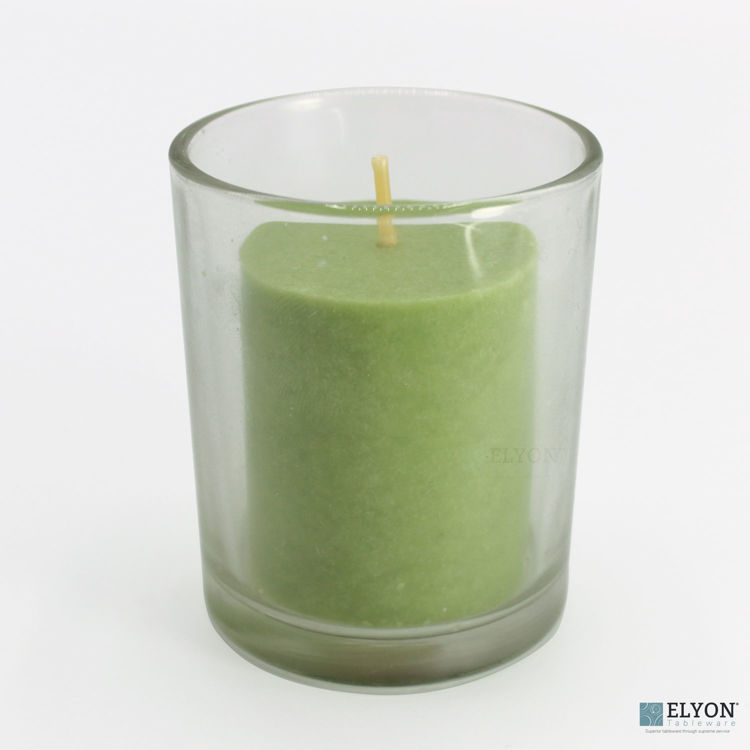 18 Green Colored Unscented Wax Votive Memorial Candle, 24 Hours Burn Time