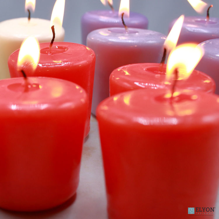 24 Red Unscented Wax Votive Candles, 15 Hours Burn Time