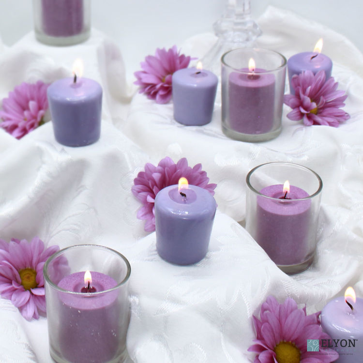 24 Lavender Unscented Wax Votive Candles, 15 Hours Burn Time
