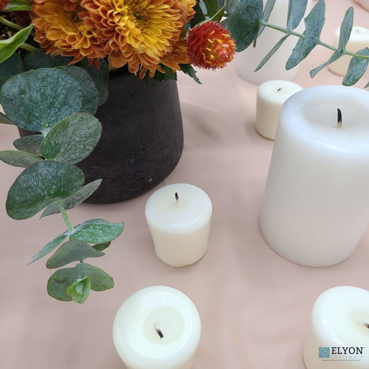 Picture of 24 Ivory Unscented Wax Votive Candles, 15 Hours Burn Time