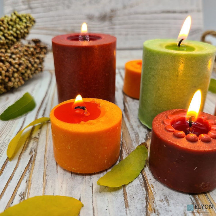 Picture of 18 Assorted Colored Unscented Wax Votive Candles in Glass Holder, 24 Hours Burn Time