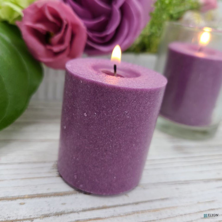 Picture of 18 Purple Colored Unscented Wax Votive Candles in Glass Holder, 24 Hours Burn Time