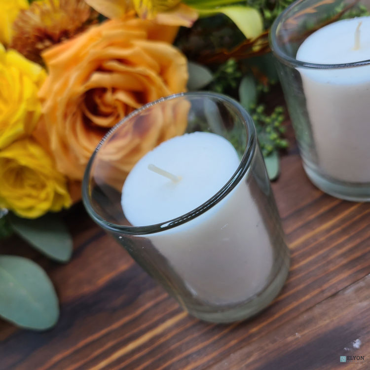 Picture of 18 White Colored Unscented Wax Votive Candles in Glass Holder, 24 Hours Burn Time
