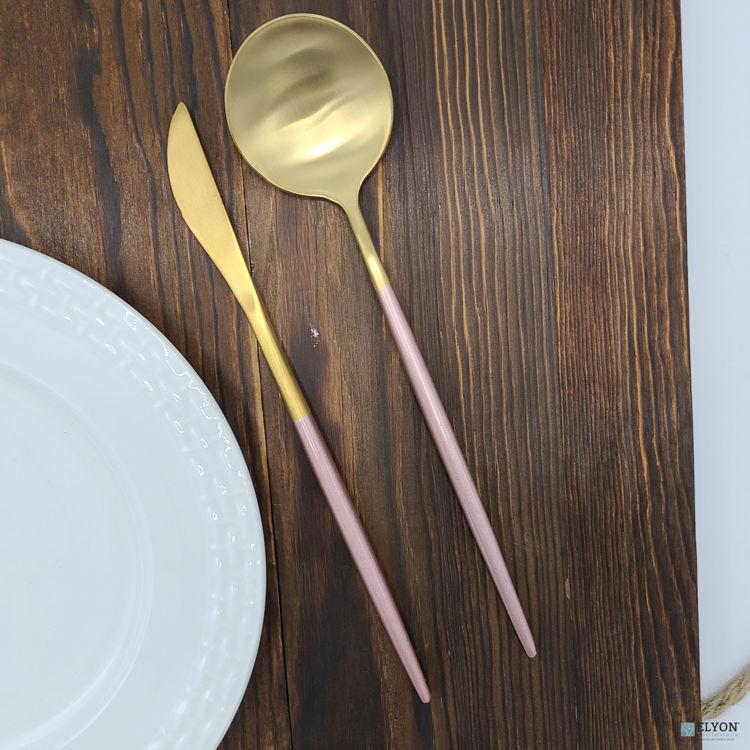 20-Piece Matte Gold/Pink Flatware Set, Stainless Steel, Pink Thin Handles