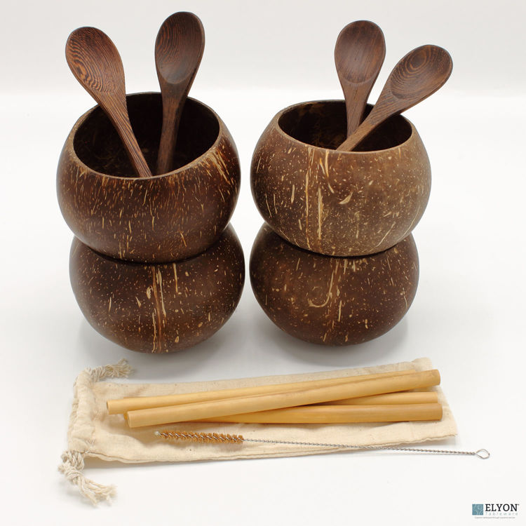 Large Handmade Natural Coconut Shell Cup Set