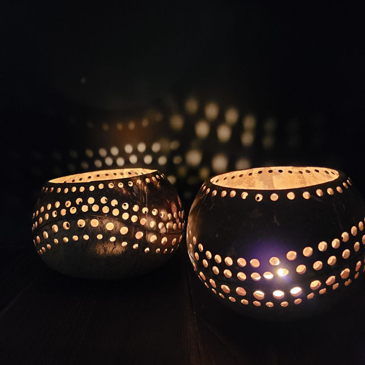 Large Handmade Natural Coconut Shell Tealight Candle Holders