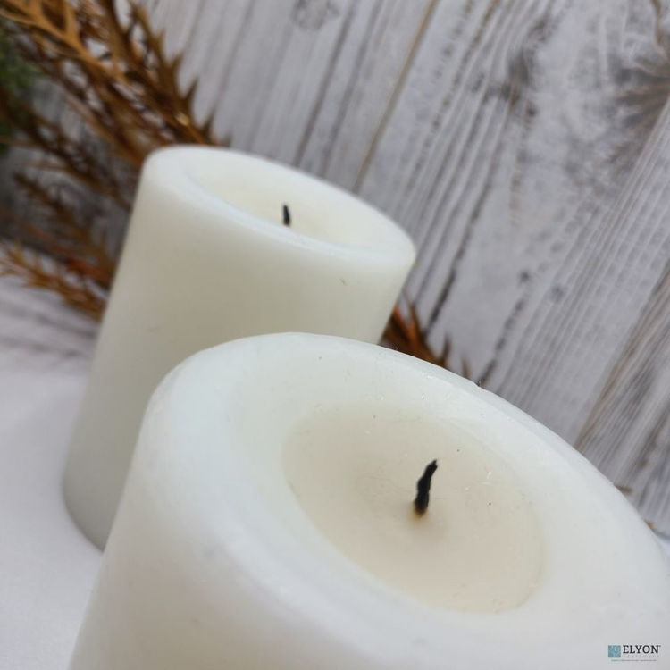 6 White Unscented Wax Pillar Candles, 40 Hours Burn Time