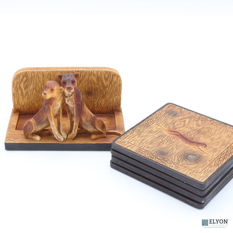 Big Cat Lion Coaster Set