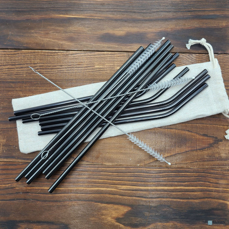 15-Piece Reusable Drinking Metal Straws Set Reflective Black Colored Stainless Steel Eco Friendly