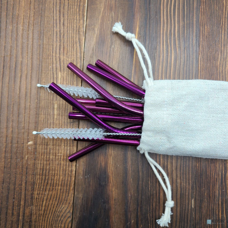 15-Piece Reusable Drinking Metal Straws Set Reflective Purple Colored Stainless Steel Eco Friendly