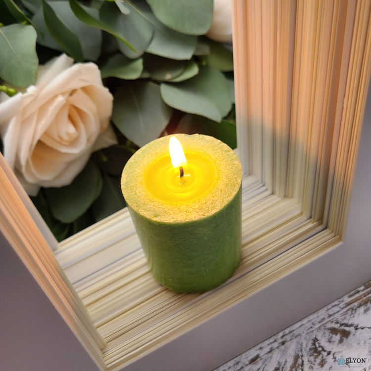 Picture of 18 Green Colored Unscented Wax Votive Candles in Glass Holder, 24 Hours Burn Time