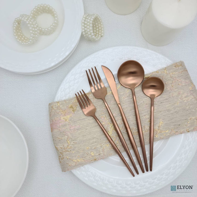 20-Piece Matte Copper Flatware Set, Stainless Steel, Thin Handles, Service For 4