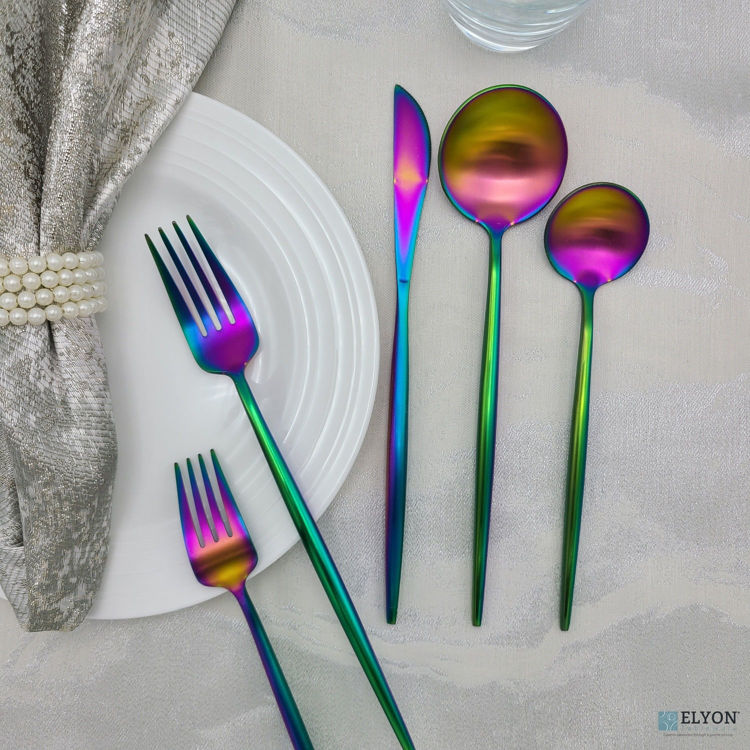 Picture of 20-Piece Matte Rainbow Flatware Set, Stainless Steel, Thin Handles, Service For 4