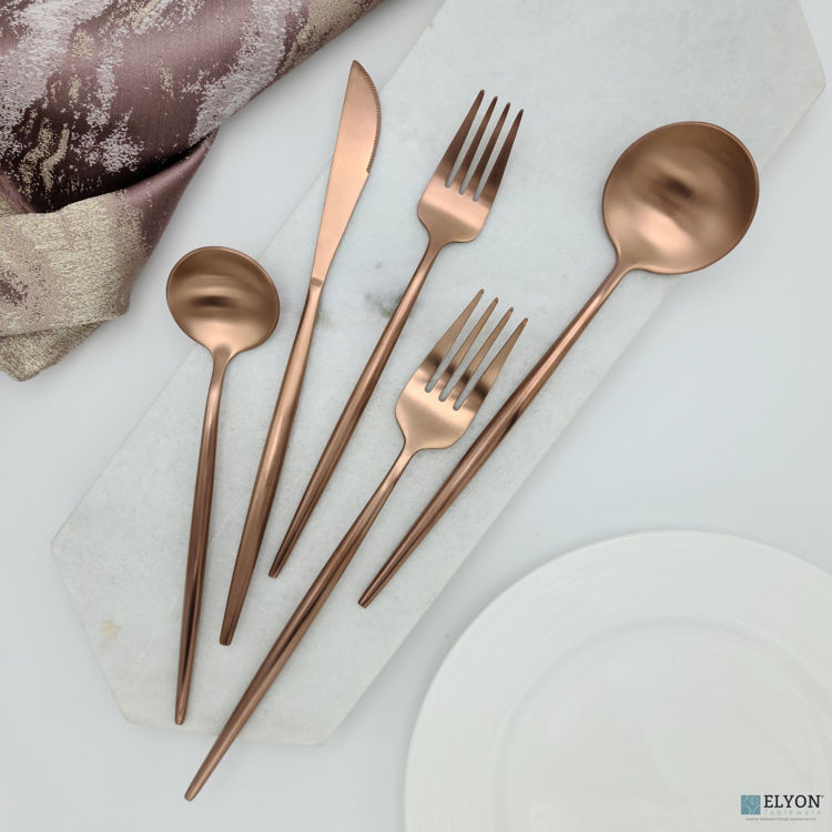 Picture of 20-Piece Matte Copper Flatware Set, Stainless Steel, Thin Handles, Service For 4