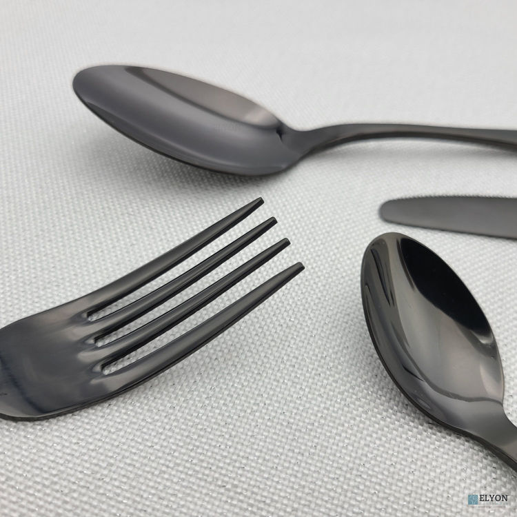 16-Piece Reflective Black Flatware Set, Stainless Steel, Service For 4