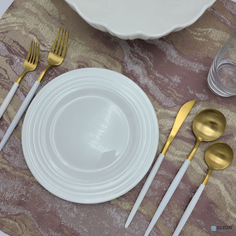 20-Piece Matte Gold/White Flatware Set, Stainless Steel, White Thin Handles, Service For 4