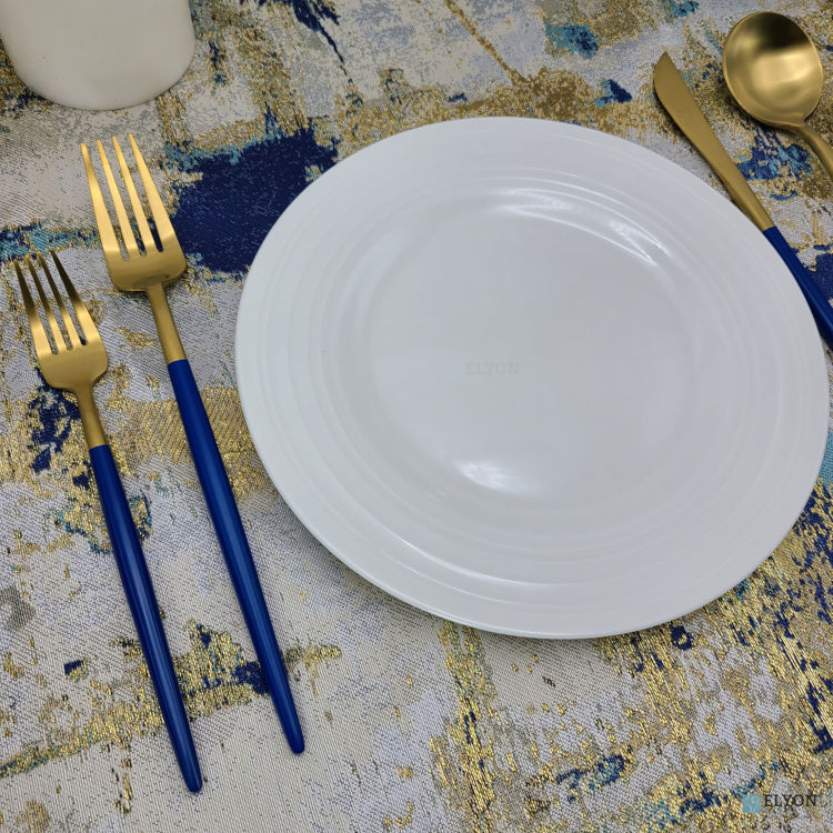 20-Piece Matte Gold/Blue Flatware Set, Stainless Steel, Blue Thin Handles, Service For 4