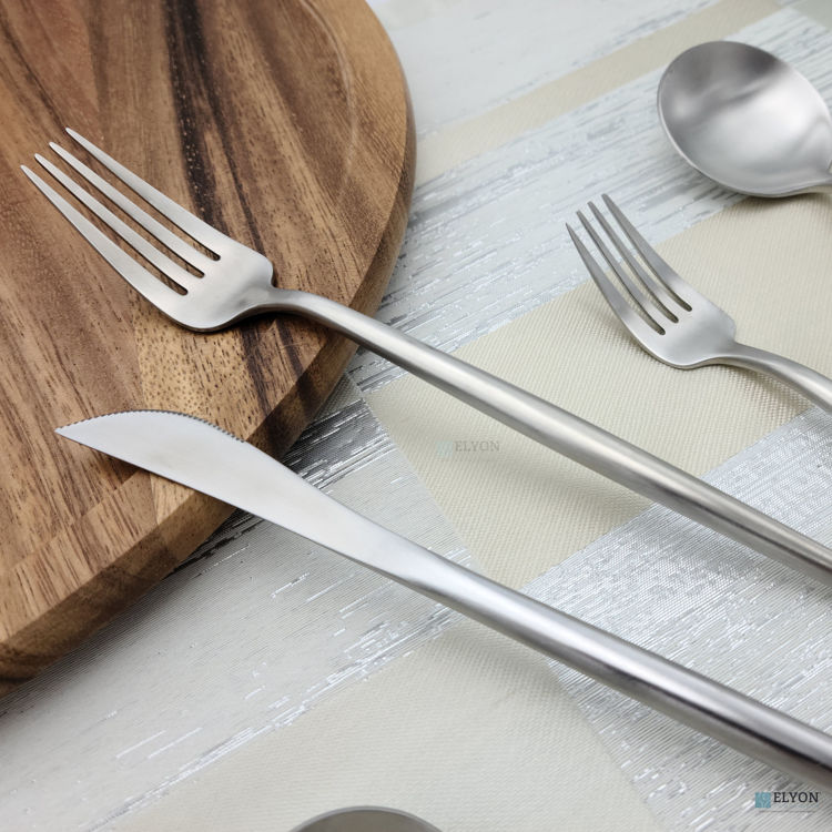 20-Piece Matte Silver Flatware Set, Stainless Steel, Thin Handles, Service For 4