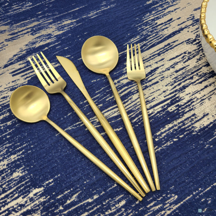 20-Piece Matte Gold Flatware Set, Stainless Steel, Thin Handles, Service For 4